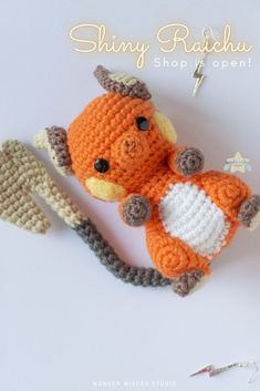 This cute Raichu is now available for order and commission at Wonder Wishes' shop and etsy. Have one crocheted just for you or for a friend/family member if you're looking for a pokemon gift idea!