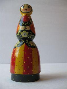 Vintage Soviet wooden doll Handcrafted USSR Russian. $10.00, via Etsy.
