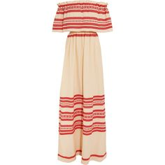 Celia Dragouni Off-the-shoulder embroidered cotton maxi dress (€360) ❤ liked on Polyvore featuring dresses, red, off the shoulder dress, cotton maxi dress, pleated maxi dress, red slip dress and maxi dresses