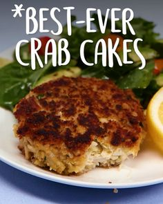 Tasty cooking recipes in photo and video. meat, vegetable, spice, fish You probably have most of the ingredients on hand for these simple, elegant crab cakes; just make a quick run to the seafood market for fresh lump crabmeat Crab Cake Recipes, Salmon Recipes, Fish Recipes, Appetizer Recipes, Dinner Recipes, Crab Cakes Recipe Best, Crab Cakes Recipe Panko, Fried Shrimp Recipes, Healthy Recipes