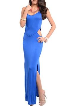 DHSTYLES: DHStyles Women's Royal Trendy Cut Out Sleeveless Open Back Maxi Dress - Small Buy Now $8.38 Find at Faearch