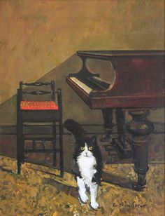 Cat and Piano by Ruskin Spear on Curiator, the world's biggest collaborative art collection. I Love Cats, Crazy Cats, Son Chat, Cat Sketch, Collaborative Art, Cat Drawing, Cat Art, Cats And Kittens, Cat Lovers