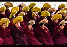 LABRANG    Geluk ( Yellow hats) school Tibetan monks during a ceremony in Labrang monastery in Xiahe.   www.boazimages.com