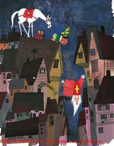 Door Fiep Westendorp (tekeningen van Fiep zijn leuk!) Christmas Illustration, Children's Book Illustration, Graphic Design Illustration, St Nicholas Day, Happy Birthday Jesus, Dutch Artists, Vintage Postcards, Schmidt, Illustrators