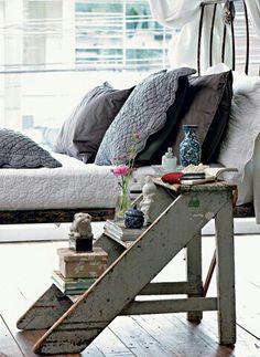 ~  Love the 'short-step ladder' bedside table idea!  ~