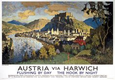 Austria via Harwich. LNER Vintage Travel Poster by C Gorbatoff