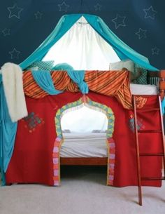 Wow, how cool is this bunk bed tent!! Who wouldn't want to eat, sleep, play, pretend in here!