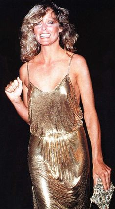Late 70s disco glam Farrah gold lame dress metallic nightclub evening sexy snapshot movie star imgur.com