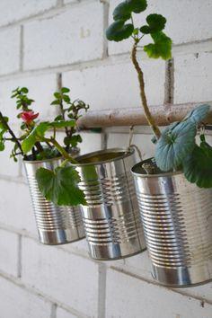 rangements faits de boite de conserve suspendues à l'aide d'une branche d'arbre