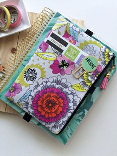 Gray floral planner cover planner bag pocket planner pouch