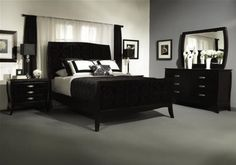 Black and white bedroom with gray