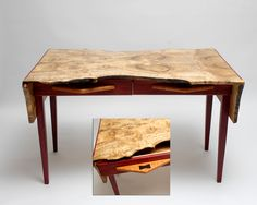Live Edge Writing Table, Myrtlewood,  Purpleheart, Quilted Maple, Wenge, Birdseye Maple For Sale Contact 541-556-8280