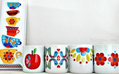 Joli-MUGS retro design SET of 4 xmas