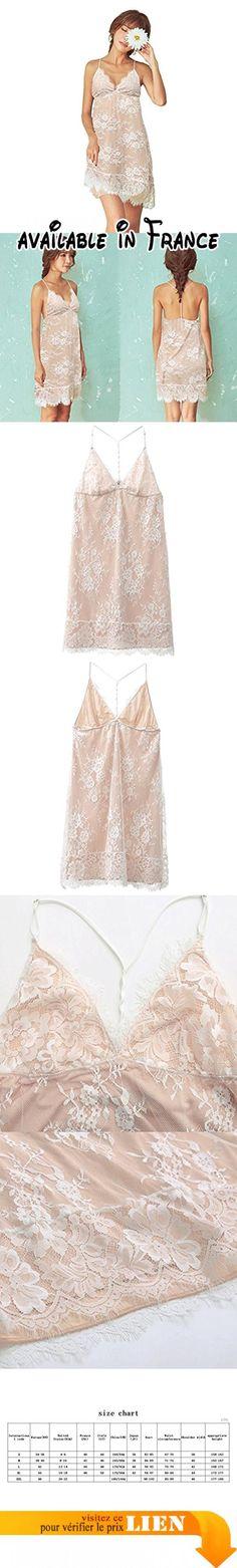 Eté sexy V-neck strap fine section de la jupe de sommeil des femmes ( Couleur : Beige , taille : Xl )