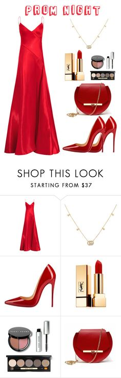 """""""Prom Dress"""" by seanhorn ❤ liked on Polyvore featuring Gucci, Christian Louboutin, Yves Saint Laurent, Bobbi Brown Cosmetics and Angela Valentine Handbags"""