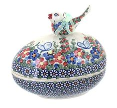 Polish Pottery Garden Butterfly Egg Box with Bird ** Continue to the product at the image link.
