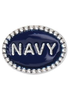 Nomades - Beaded Service Spacer - Navy  .925 sterling silver spacer with beaded pattern. NAVY on this spacer is surrounded by shades of blue enamel.