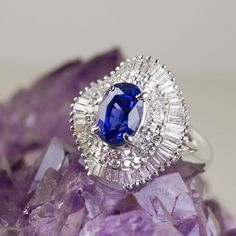 Natural Royal Blue Sapphire Diamond Platinum Ballerina Cocktail Ring 5.00ct Oval Baguette Round Vintage Antique