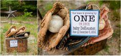 Baby Announcement softball, baseball, sports, creative announcement