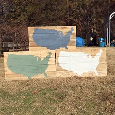 Painted US Map on Reclaimed Pallet Wood by PalletandCrate on Etsy