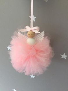 pompom fairy fairy peg doll fairy fairy pink tutu fairy girls room decor pompom fairy princess fairy wings fairy tutu pom pom tutu in tulle – little girl rooms Tutu En Tulle, Tulle Poms, Pom Poms, Pink Tutu, Tulle Fabric, Tulle Crafts, Pom Pom Crafts, Tulle Projects, Ribbon Crafts