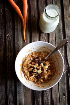 Instant Carrot Cake Oatmeal by kitchensimplicity #Oatmeal #Carrot_Cake
