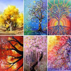 7e168821d9 5D DIY Diamond Painting Trees Abstract Art Paintings 3D Cross Stitch Full Diamond  Embroidery Mosaic Wall