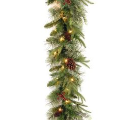"""Pre-Lit """"Feel-Real"""" Christmas Garland with Berries and Cones by NATIONAL TREE COMPANY. $69.99. Pre-Lit """"Feel-Real"""" Christmas Garland with Berries and Cones. This Pre-Lit """"Feel-Real"""" Colonial Garland with Berries and Cones is a perfectly illuminating garland for any occasion. With 50 clear lights, it will light up any room or staircase wonderfully and includes spare bulbs and fuse. There are 360 tips on this g"""