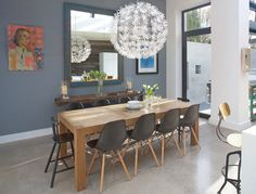 Gorgeous grey blue wall color -- Pure Shadow by Signature collection from Dulux -- Contemporary Dining Room by Optimise Design