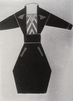 Varvara Stepanova, Russian constructivist design for woman's professional suit, c. 1922