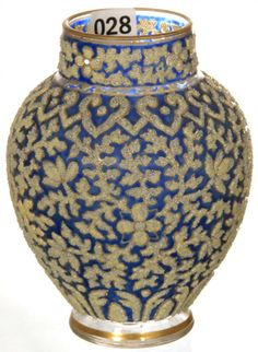 """5 1/2"""" CLEAR ART GLASS VASE WITH COBALT BLUE BACKGROUND"""