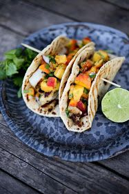 Feasting at Home: CHIPOTLE FISH TACOS with CILANTRO PEACH SALSA