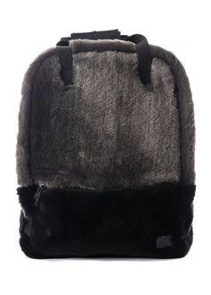 Spiral UK Black Faux Fur Backpack