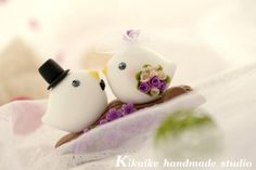 love bird with branch and  flowers  Wedding Cake Topper by kikuike, $120.00