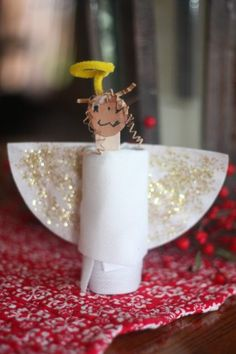 Angels and toilet paper.shouldn't that be an oxymoron, or something? This was a very kid-centered craft. Big Brother loved putting the face on the ang Christmas Toilet Paper, Toilet Paper Roll Crafts, Preschool Christmas, Cardboard Crafts, Christmas Activities, Craft Stick Crafts, Preschool Crafts, Christmas Crafts For Kids, Holiday Crafts