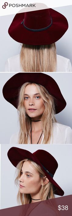 FREE PEOPLE Velvet Wide Brim HAT Red Blue BRAND NEW!! Wide brim velvet hat featuring a leather band with double metal studs. Import. Colors: Port, Sapphire. Retail: $78.00.   Measurements: Brim: 4.5 in.  Circumference: 22.0 in.   Item is Brand New, direct from the Manufacturer, & Sealed in Pkg.  Free People Accessories Hats