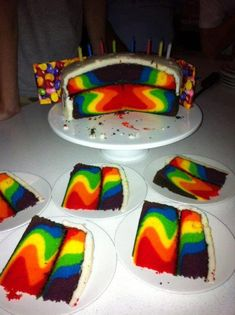 My kids are going to LOVE this:  How To Make a Rainbow Birthday Cake