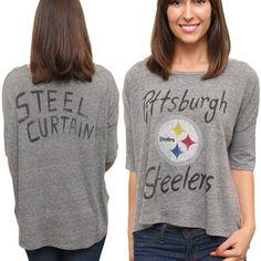 Junk Food Pittsburgh Steelers Ladies Premium Hi-Lo Hem Game Day Tri-Blend T-Shirt - Ash