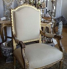 Gold, Silver, and Gilver. Furniture Inspiration AND Rub N' Buff Dining Chair Makeover, Furniture Makeover, Gold Furniture, Painted Furniture, Antique Curio Cabinet, Rub And Buff, Dinning Chairs, Dining Room, Love Chair