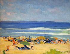 """Ogunquit Beach Scene,"" Beatrice Whitney Van Ness, 1913, oil on canvasboard, 10-3/4 x 14"", Springfield Museum of Art."