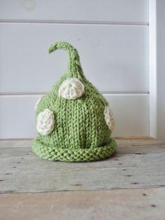 Newborn Beanie in Green with Cream Crochet Dots Shabby Chic Baby Photo Prop. $20.00, via Etsy.