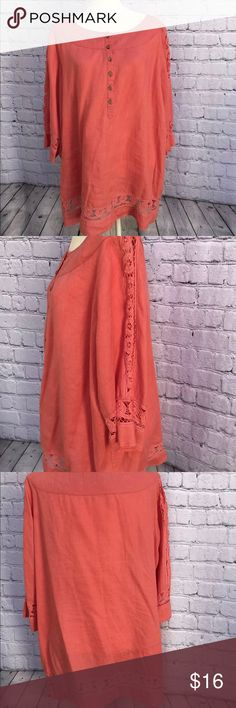 """Motto Womens Linen Lace 3/4 Sleeve Plus Size Top Pre owned great condition Beautiful pink coral color Plus size 1X Lace around bottom and down 3/4 sleeves.  6 button crew neck.  100% Linen  Armpit to armpit 27"""" armpit to armpit 22.5"""" Returns accepted shop with confidence  Bin C motto Tops Blouses"""