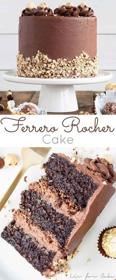 This Ferrero Rocher Cake is your favourite chocolate hazelnut treat in cake form! Chocolate hazelnut cake layers and with a Nutella buttercream. Matilda Chocolate Cake, Beattys Chocolate Cake, Too Much Chocolate Cake, Chocolate Desserts, Chocolate Cream, Nutella Chocolate Cake, Rocher Chocolate, Chocolate Drip, Just Desserts