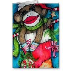 Holly Jolly Sock Monkey Card