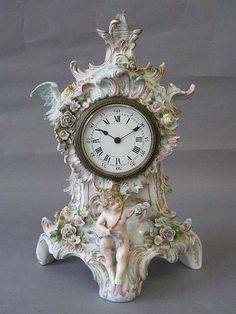 Rococo style porcelain mantle clock by Dresden, Germany c. Antique Wall Clocks, Wall Clock Wooden, Old Clocks, French Rococo, Rococo Style, Shabby Chic Clock, Classic Clocks, Art Nouveau, Wall Clock Online