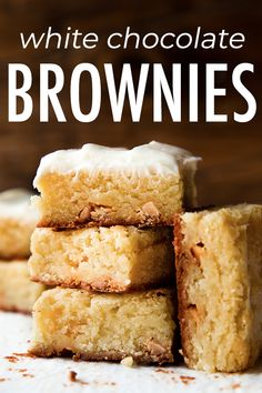 How to make 1 bowl white chocolate brownies on sallysbakingaddic… Better than blondies! White Chocolate Blondies, Chocolate Brownies, White Brownies, White Chocolate Desserts, Chocolate Chocolate, Cookie Dough Cake, Chocolate Chip Cookie Dough, Cookie Bars, Brownie Recipes