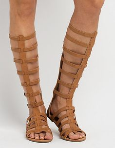 2e3cdedc575 Knee-High Buckled Gladiator Sandals  Charlotte Russe