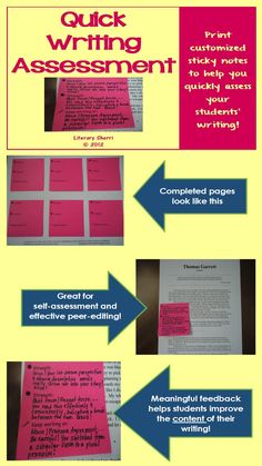 Spend a little time now creating customized sticky notes, save a lot of time later grading writing assignments! This assessment tool helps you note two writing strengths and one area to keep working on, teaching students to improve the content of their writing, not just the grammar and mechanics. Also great for self-assessment and peer-editing! #writingassessment