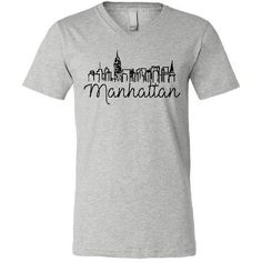 Manhattan Skyline Boutique Style Soft v-Neck Crew Tee Shirt New York... (1.315 RUB) ❤ liked on Polyvore featuring tops, t-shirts, white, women's clothing, logo t shirts, v-neck tee, white crew neck t shirt, short sleeve t shirts and white t shirt