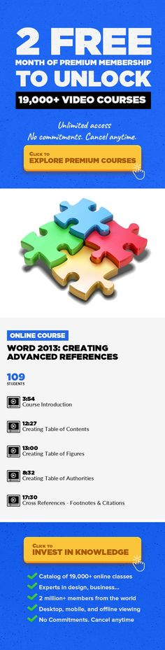 Word 2013: Creating Advanced References Entrepreneurship, Writing & Publishing, DIY, Business, Web Development, Logo Design, Editorial Writing, Productivity #onlinecourses #onlinetrainingexercise #lifeskills   In this course, using Word 2013, you will learn how to gain skills by learning how to create: 1. Table of Contents 2. Table of Figures 3. Table of Authorities  4. Become proficient with Cit...